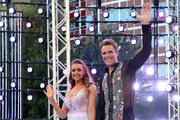 Catherine Tyldesley and James Cracknell on stage at the 'Strictly Come Dancing' launch show at Television Centre on August 26, 2019 in London, England.