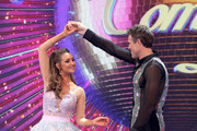 """Catherine Tyldesley and James Cracknell on stage at the """"Strictly Come Dancing"""" launch show at Television Centre on August 26, 2019 in London, England."""