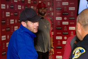 Singer-Songwriter Nick Jonas and Angels First Baseman Albert Pujols meet the Anaheim Police Chief as he attends the Strike Out Slavery Press Conference at Angel Stadium on August 9, 2018 in Anaheim, California.