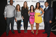 (L-R) CC Sabathia, Denise Albert, Stephanie Winston Wolkoff, Melissa Musen Gerstein, Alexis Stoudemire and Jorge Posada pose backstage at Strut: The Fashionable Mom Show during Mercedes-Benz Fashion Week Spring 2014 at Lincoln Center for the Performing Arts on September 7, 2013 in New York City.