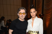 Stuart Weitzman Creative Director Giovanni Morelli (L) and Jordan Duffy attend the Stuart Weitzman FW18 Presentation and Cocktail Party at The Pool on February 8, 2018 in New York City.