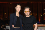 Stuart Weitzman Creative Director Giovanni Morelli (L) and Shu Pei attend the Stuart Weitzman FW18 Presentation and Cocktail Party at The Pool on February 8, 2018 in New York City.
