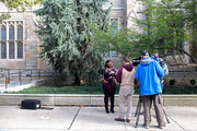 A woman is interviewed outside of the Yale University Law School on the day the U.S. Senate Judiciary Committee was holding hearings for testimony from Supreme Court nominee Brett Kavanaugh and Dr. Christine Blasey Ford on September 27, 2018 in New Haven, Connecticut. Blasey Ford, a professor at Palo Alto University and a research psychologist at the Stanford University School of Medicine, has accused Kavanaugh of sexually assaulting her during a party in 1982 when they were high school students in suburban Maryland.