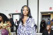 Justine Skye attends the front row for Studio 189 during New York Fashion Week: The Shows at Gallery I at Spring Studios on September 10, 2019 in New York City.