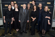 "Kieran Culkin, Matthew Macfadyen, Sarah Snook, Brian Cox, Jeremy Strong, Nicholas Braun, Hiam Abbass, Alan Ruck and J. Smith-Cameron attend the ""Succession"" FYC Event at Time Warner Center on April 17, 2019 in New York City."