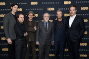 "Nicholas Braun, Kieran Culkin, Jeremy Strong, Brian Cox, Alan Ruck and Matthew Macfadyen attend the ""Succession"" FYC Event at Time Warner Center on April 17, 2019 in New York City."