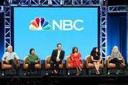 "(L-R) Brian George, Madhur Jaffrey, Paul Adelstein, Sarayu Blue, Aseem Batra, Amy Poehler of the television show ""I Feel Bad"" speak during the NBC segment of the Television Critics Association Press Tour at the Beverly Hilton Hotel on August 8, 2018 in Beverly Hills, California."
