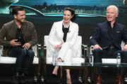 """(L-R)   Actor Michael Malarkey, actress Laura Mennell, and actor Neal McDonough of the television show """"Blue Book"""" speak during the A&E segment of the Summer 2018 Television Critics Association Press Tour at the Beverly Hilton Hotel on July 26, 2018 in Beverly Hills, California."""