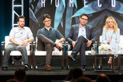 (L-R) Writer/Showrunner Eli Horowitz, Writer/Showrunner Micah Bloomberg, Director Sam Esmail, and actor Julia Roberts of 'Homecoming' speak onstage during the Amazon Studios portion of the Summer 2018 TCA Press Tour at The Beverly Hilton Hotel on July 28, 2018 in Beverly Hills, California.