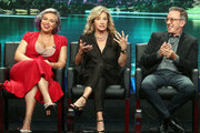 """(L-R) Actresses Amanda Fuller, and Nancy Travis and actor Tim Allen of the television show """"Last Man Standing"""" speak during the FOX segment of the Summer 2018 Television Critics Association Press Tour at the Beverly Hilton Hotel on August 2, 2018 in Beverly Hills, California."""
