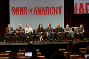 (L-R) Creator/executive producer Kurt Sutter, executive producer/director Paris Barclay, actors Charlie Hunnam, Katey Sagal, Kim Coates, Theo Rossi, Dayton Callie and Drea de Matteo speak onstage at the 'Sons of Anarchy' panel during the FX Networks portion of the 2014 Summer Television Critics Association at The Beverly Hilton Hotel on July 21, 2014 in Beverly Hills, California.