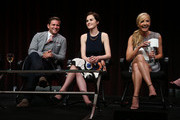"""(L-R) Actors Allen Leech, Michelle Dockery, and Joanne Froggatt speak onstage during the MASTERPIECE """"Downton Abbey, Season 5"""" panel at the PBS Networks portion of the 2014 Summer Television Critics Association at The Beverly Hilton Hotel on July 22, 2014 in Beverly Hills, California."""