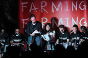 (L-R)   David Harewood,  Ashley Walters, Jonathan Hyde, Minnie Driver, Marc Warren, Jamie Winstone and Leo Gregory speak at the CINEMA CAFE: Table Read: FARMING with Adewale Akinnuoye-Agbaje during Sundance  London at Cineworld 02 Arena on April 27, 2012 in London, England.