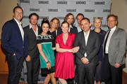 (L-R)  Charlie Collier, President and General Manager of AMC and SundanceTV, actor Aden Young, actress Abigail Spencer, Marsha Persinger, Melissa Bernstein, executive producer of 'Rectify', Ray McKinnon, creator/writer/executive producer of 'Rectify', actor Clayne Crawford, Christian Vesper, SVP of scripted and current series, SundanceTV, actress Adelaide Clemens and Mark Johnson, executive producer of 'Rectify' attend SundanceTV's presentation of panel discussions featuring creators and stars of 'Rectify' and 'The Honorable Woman' on May 16, 2015 in Los Angeles, California.