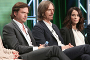 (L-R) Actor Aden Young, Creator/executive producer/writer/director Ray McKinnon and actress Abigail Spencer speak onstage during the 'Rectify' panel discussion at the SundanceTV portion of the 2016 Television Critics Association Summer Tour at The Beverly Hilton Hotel on July 31, 2016 in Beverly Hills, California.