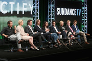 (L-R) Actors Clayne Crawford, Adelaide Clemens, Aden Young, Creator/executive producer/writer/director Ray McKinnon, actors Abigail Spencer, Luke Kirby, J. Smith-Cameron, Bruce McKinnon and Jake Austin Walker speak onstage during the 'Rectify' panel discussion at the SundanceTV portion of the 2016 Television Critics Association Summer Tour at The Beverly Hilton Hotel on July 31, 2016 in Beverly Hills, California.