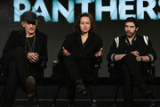 """(L-R) Executive producer/ director Johan Renck, actors Samantha Morton and Tahar Rahim speak onstage during the SundanceTV Winter TCA Press Tour 2016 """"The Last Panthers"""" panel at The Langham Huntington Hotel and Spa on January 8, 2016 in Pasadena, California."""