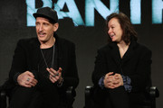 """Executive producer/ director Johan Renck (L) and actress Samantha Morton speak onstage during the SundanceTV Winter TCA Press Tour 2016 """"The Last Panthers"""" panel at The Langham Huntington Hotel and Spa on January 8, 2016 in Pasadena, California."""