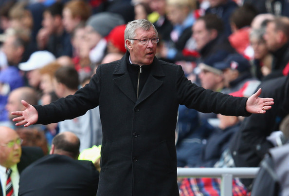 Sir Alex Ferguson of Manchester United expresses himself during the Barclays Premier League match between Sunderland and Manchester United at Stadium of Light on May 13, 2012 in Sunderland, England.