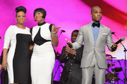 (L-R) Diana Barrino Barber, American Idol winner and Grammy-nominated artist Fantasia and host Kirk Franklin speak onstage at the Super Bowl Gospel 2013 Show at UNO Lakefront Arena on February 1, 2013 in New Orleans, Louisiana.