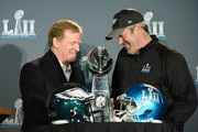 NFL Commissioner Roger Goodell poses for a photo with head coach Doug Pederson of the Philadelphia Eagles and the Vince Lombardi Trophy during Super Bowl LII media availability on February 5, 2018 at Mall of America in Bloomington, Minnesota. The Philadelphia Eagles defeated the New England Patriots in Super Bowl LII 41-33 on February 4th.