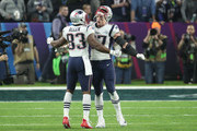 Rob Gronkowski #87 of the New England Patriots celebrates with Dwayne Allen #83 after a touchdown against the Philadelphia Eagles during the third quarter in Super Bowl LII at U.S. Bank Stadium on February 4, 2018 in Minneapolis, Minnesota.