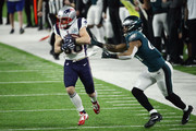 Danny Amendola #80 of the New England Patriots makes the catch defended by Patrick Robinson #21 of the Philadelphia Eagles in the first half of Super Bowl LII at U.S. Bank Stadium on February 4, 2018 in Minneapolis, Minnesota.