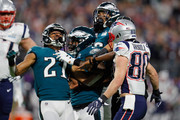Patrick Robinson #21 of the Philadelphia Eagles and Danny Amendola #80 of the New England Patriots are seperated by Malcolm Jenkins #27 after they exchange words after the whistle during the second quarter in Super Bowl LII at U.S. Bank Stadium on February 4, 2018 in Minneapolis, Minnesota.
