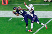 Chris Matthews #13 of the Seattle Seahawks makes a catch for a first down in the first half against  Kyle Arrington #25 of the New England Patriots during Super Bowl XLIX at University of Phoenix Stadium on February 1, 2015 in Glendale, Arizona.