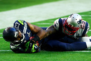 Chris Matthews #13 of the Seattle Seahawks makes a catch against  Kyle Arrington #25 of the New England Patriots  in the second quarter during Super Bowl XLIX at University of Phoenix Stadium on February 1, 2015 in Glendale, Arizona.