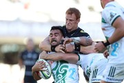 Philip van der Walt of the Cell C Sharks tackling Liam Messam of the Gallagher Chiefs during the Super Rugby match between Cell C Sharks and Chiefs at Jonsson Kings Park on May 19, 2018 in Durban, South Africa.
