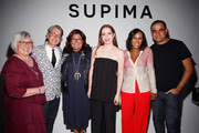 (L-R) Buxton Midyette, Alyssa Wardrop; June Ambrose and Bibhu Mohapatra  prepare backstage at Supima Design Competition SS18 runway show during New York Fashion Week at Pier 59 on September 7, 2017 in New York City.