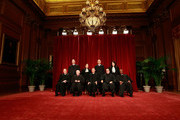 Members of the US Supreme Court pose for a group photograph at the Supreme Court building on September 29, 2009 in Washington, DC.  Front row (L-R): Associate Justice Anthony M. Kennedy, Associate Justice John Paul Stevens, Chief Justice John G. Roberts, Associate Justice Antonin Scalia, and Associate Justice Clarence Thomas. Back Row (L-R),  Associate Justice Samuel Alito Jr., Associate Justice Ruth Bader Ginsburg, Associate Justice Stephen Breyer, and Associate Justice Sonia Sotomayor.