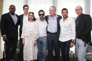 (L-R)  Ludovic LeRoy, Spencer Bailey, FKA Twigs, Alex Israel, Hans Ulrich Obrist, Marc Lotenberg and  Peter Patchen attend a Surface Magazine Event With Hans Ulrich Obrist And FKA Twigs at Edition Hotel on December 4, 2014 in Miami, Florida.