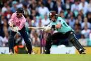 Ollie Pope of Surrey attemps to hit past John Simpson of Middlesex takes the bails off during the NatWest T20 Blast Surrey and Middlesex at The Kia Oval on July 21, 2017 in London, England.