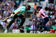 Ollie Pope of Surrey lunges to make his ground as John Simpson of Middlesex takes the bails off during the NatWest T20 Blast Surrey and Middlesex at The Kia Oval on July 21, 2017 in London, England.