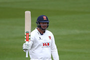Jesse Ryder of Essex celebrates his half century during day two of the Specsavers County Championship Division Two match between Sussex and Essex at The 1st Central County Ground, on April 18, 2016 in Hove, England.
