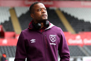 Patrice Evra of West Ham United arrives prior to the Premier League match between Swansea City and West Ham United at Liberty Stadium on March 3, 2018 in Swansea, Wales.