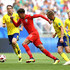 Sebastian Larsson Albin Ekdal Photos - Dele Alli of England is challenged by Sebastian Larsson of Sweden during the 2018 FIFA World Cup Russia Quarter Final match between Sweden and England at Samara Arena on July 7, 2018 in Samara, Russia. - Sweden vs. England: Quarter Final - 2018 FIFA World Cup Russia