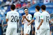 Players of Korea Republic react after Sweden's goal during the 2018 FIFA World Cup Russia group F match between Sweden and Korea Republic at Nizhniy Novgorod Stadium on June 18, 2018 in Nizhniy Novgorod, Russia.