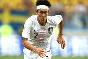 Yong Lee of Korea Republic runs with the ball during the 2018 FIFA World Cup Russia group F match between Sweden and Korea Republic at Nizhniy Novgorod Stadium on June 18, 2018 in Nizhniy Novgorod, Russia.