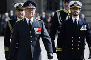 CORRECTION - King Carl XVI Gustaf (L) and Prince Carl Philip arrive on the outer courtyard at the Royal Palace in Stockholm, Sweden, for the Kings 70th birthday celebrations,on April 30, 2016. . / AFP / TT NEWS AGENCY AND TT News Agency / Henrik MONTGOMERY / Sweden OUT / The erroneous mention[s] appearing in the metadata of this photo by Henrik Montgomery has been modified in AFP systems in the following manner: [Henrik Montgomery] instead of [Maja Suslin]. Please immediately remove the erroneous mention[s] from all your online services and delete it (them) from your servers. If you have been authorized by AFP to distribute it (them) to third parties, please ensure that the same actions are carried out by them. Failure to promptly comply with these instructions will entail liability on your part for any continued or post notification usage. Therefore we thank you very much for all your attention and prompt action. We are sorry for the inconvenience this notification may cause and remain at your disposal for any further information you may require.