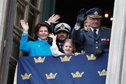 Queen Silvia of Sweden, Prince Carl Philip, Duke of Varmland, Princess Estelle, Duchess of Ostergotland, Princess Sofia, Duchess of Varmland, Prince Oscar, Duke of Skane and King Carl XVI Gustaf of Sweden attend a celebration of his 72nd birthday anniversary at the Royal Palace on April 30, 2018 in Stockholm, Sweden.