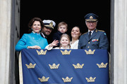 Queen Silvia of Sweden, Prince Carl Philip, Duke of Varmland, Princess Estelle, Duchess of Ostergotland, Princess Sofia, Duchess of Varmland, Prince Oscar, Duke of Skane, Crown Princess Victoria of Sweden.and King Carl XVI Gustaf of Sweden attend a celebration of his 72nd birthday anniversary at the Royal Palace on April 30, 2018 in Stockholm, Sweden.