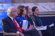 King Carl Gustaf of Sweden, Queen Silvia of Sweden, Princess Madeleine of Sweden and Princess Sofia of Sweden attend the Global Child Forum at the Hall of State in the Royal Palace on November 26, 2015 in Stockholm, Sweden.