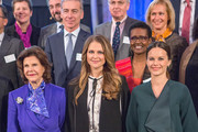 Queen Silvia of Sweden, Princess Madeleine of Sweden and Princess Sofia of Sweden attend the Global Child Forum at the Hall of State in the Royal Palace on November 26, 2015 in Stockholm, Sweden.