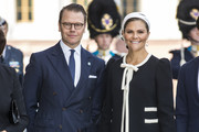 Prince Daniel of Sweden and Crown Princess Victoria of Sweden pose for a picture upon arriving at the Swedish Parliament House for the opening of the new parliamentary session on September 10, 2019 in Stockholm, Sweden.