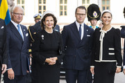 King Carl XVI Gustaf of Sweden, Queen Silvia of Sweden, Prince Daniel of Sweden, and Crown Princess Victoria of Sweden pose for a picture upon arriving at the Swedish Parliament House for the opening of the new parliamentary session on September 10, 2019 in Stockholm, Sweden.