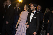 Prince Carl Philip the Duke of Varmland and Princess Sofia of Sweden the Duchess of Varmland walk the red carpet when arriving at Idrottsgalan, the annual Swedish sports awards gala held at the Ericsson Globe Arena on January 15, 2018 in Stockholm, Sweden.