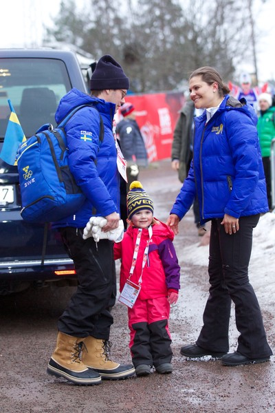 Prince Daniel of Sweden, Princess Estelle of Sweden and Crown Princess Victoria of Sweden attend the FIS Nordic World Ski Championships on February 27, 2015 in Falun, Sweden.
